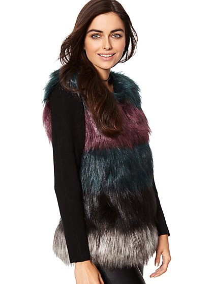 Faux-Fur Sweater Sleeve Vest - New York & Company