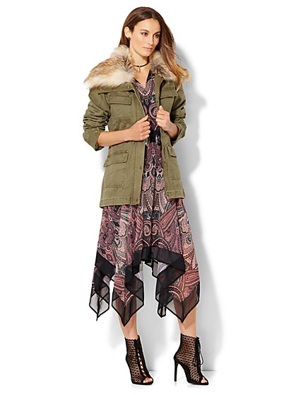 Faux Fur-Trim Anorak  - New York & Company