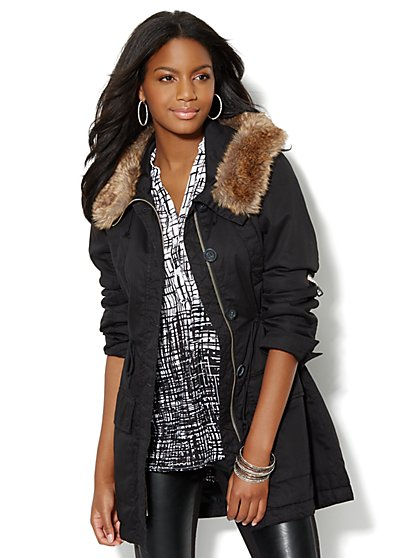 Faux-Fur Trim Anorak - New York & Company