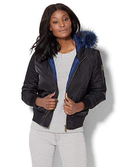 Faux Fur-Trim Bomber Jacket - New York & Company