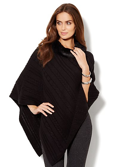 Faux Fur-Trim Cable-Knit Poncho  - New York & Company