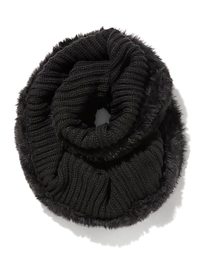Faux Fur-Trim Cable Snood - New York & Company