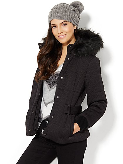 Faux Fur-Trim Hooded Cable-Knit Coat  - New York & Company