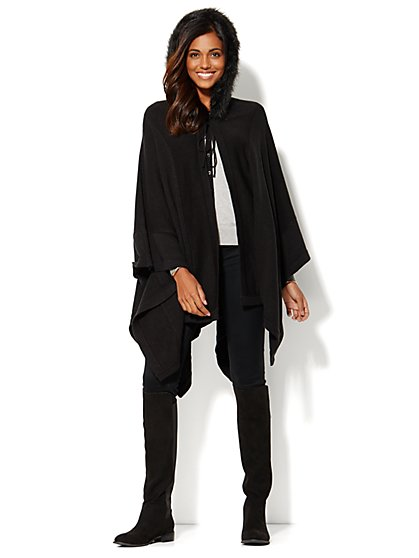 Faux-Fur-Trim Hooded Cape  - New York & Company