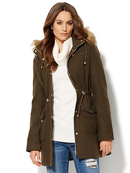 Faux Fur-Trim Hooded Coat  - New York & Company