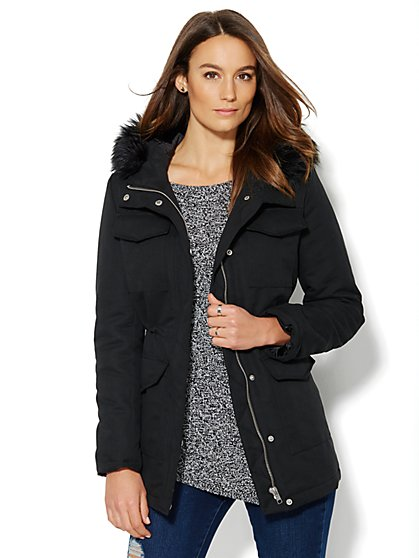 Faux-Fur-Trim Hooded Parka - New York & Company