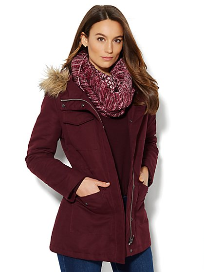 Faux-Fur-Trim Hooded Parka - New York & Company