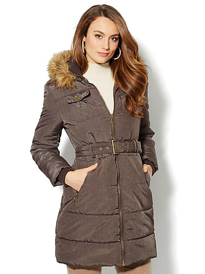 Faux-Fur Trim Long Puffer Coat - Brown - New York & Company