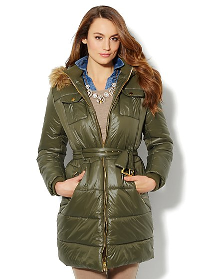 Faux-Fur Trim Long Puffer Coat  - New York & Company