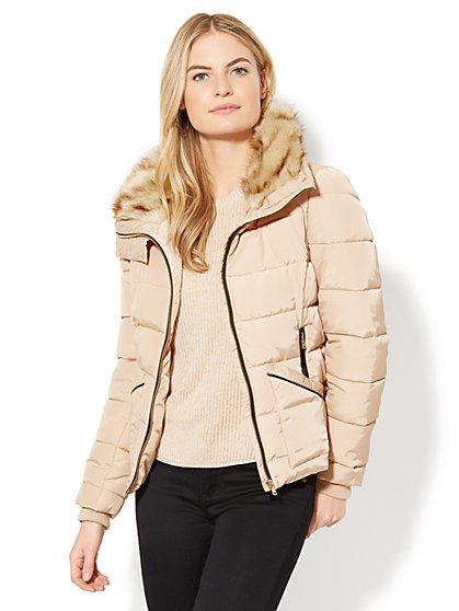 Faux-Fur Trim Puffer Jacket - New York & Company