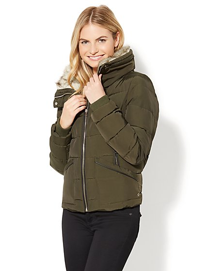 Faux-Fur Trim Puffer Jacket - New York & Company