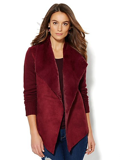 Faux Fur-Trim Sweater Jacket - New York & Company