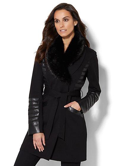 Faux Fur-Trim Trench Coat - New York & Company