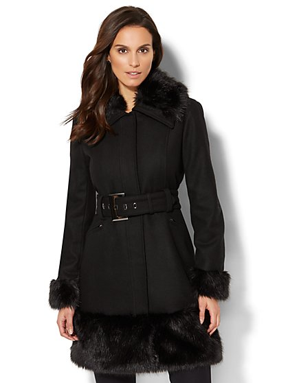 Faux Fur-Trim Wool-Blend Coat - New York & Company