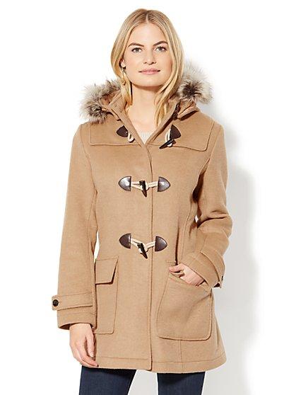 Faux-Fur Wool-Blend Toggle Coat - New York & Company