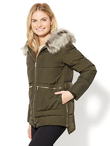 Faux-Fur Zip Puffer Jacket - New York & Company