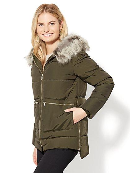 Faux-Fur Zip Puffer Jacket - New York & Company