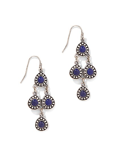 Faux-Lapis Chandelier Earring  - New York & Company