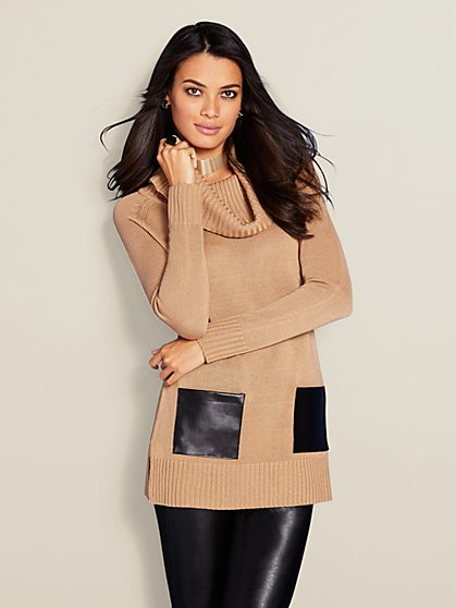 Faux-Leather Accent Cowl-Neck Sweater - New York & Company