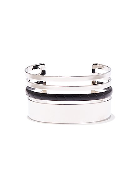 Faux-Leather Accent Cuff Bracelet  - New York & Company