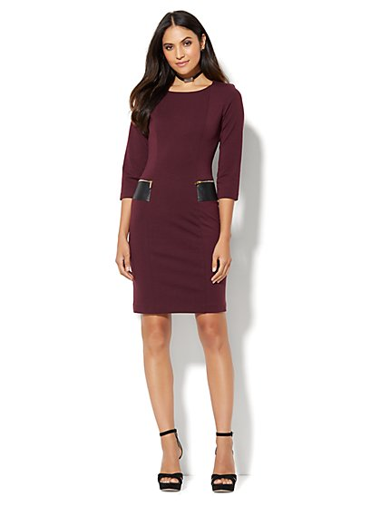 Faux-Leather Accent Sheath Dress  - New York & Company