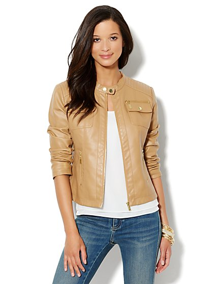 Faux-Leather Banded-Collar Jacket