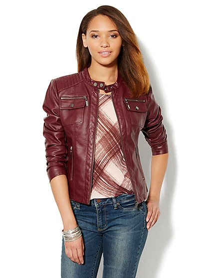 Faux-Leather Banded-Collar Jacket  - New York & Company