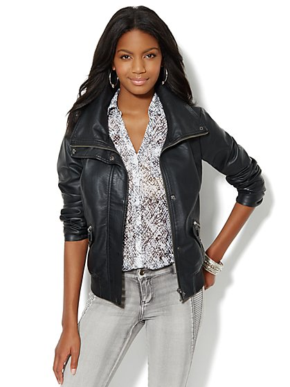 Faux-Leather Bomber Jacket - New York & Company