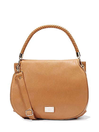 Faux-Leather Braided-Handle Bag