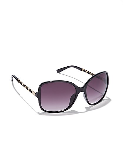 Faux-Leather Chain-Link Sunglasses  - New York & Company