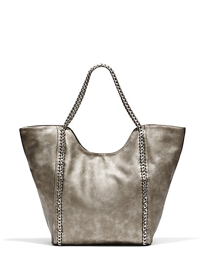 Faux-Leather Chain-Link Trim Tote Bag  - New York & Company