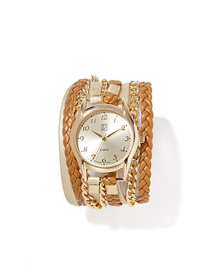 Faux-Leather & Chain-Links Wrap-Around Watch