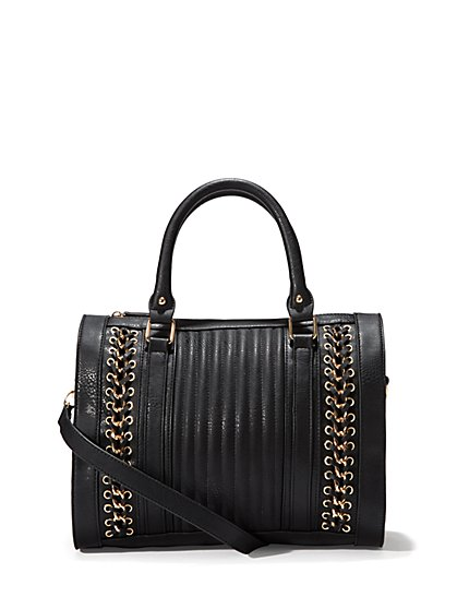 Faux Leather & Chain Satchel - Medium