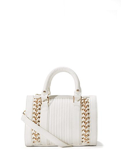 Faux Leather & Chain  Satchel - Small