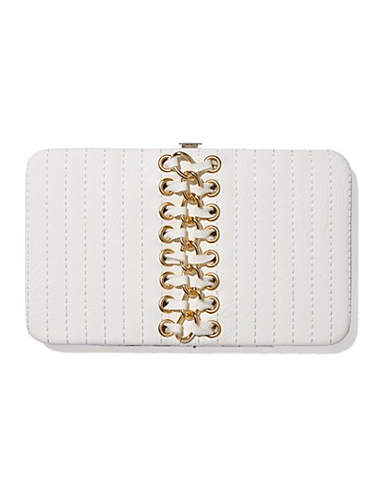 Faux Leather & Chain-Trim Clutch