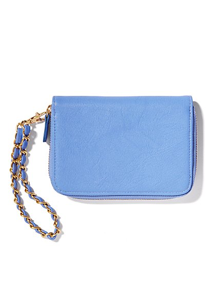 Faux-Leather & Chain Wristlet