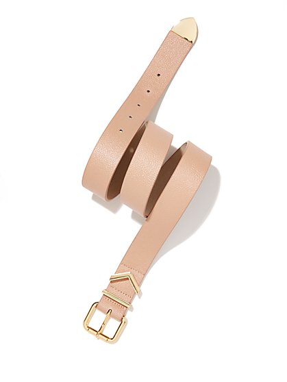 Faux-Leather Chevron Accent Belt  - New York & Company