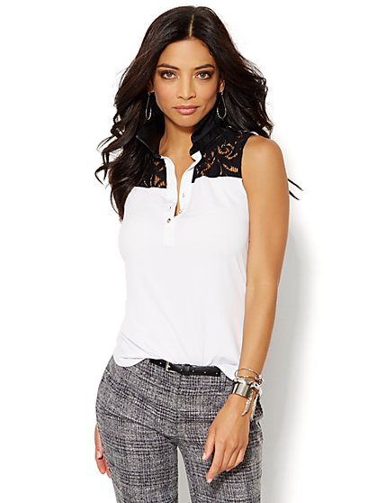 Faux-Leather Collar & Lace-Trim Top  - New York & Company