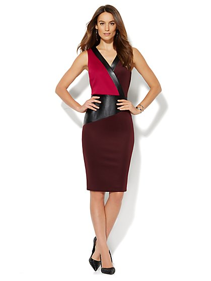 Faux-Leather & Colorblock Scuba Dress  - New York & Company