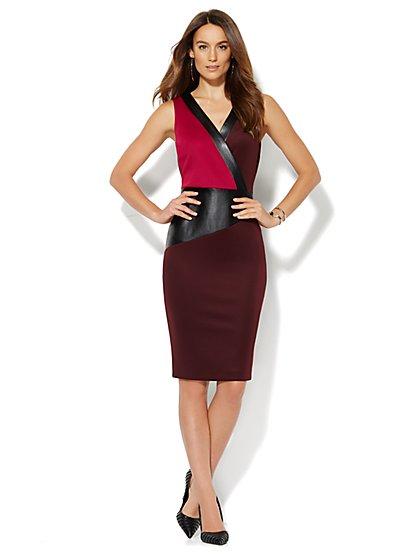 Faux-Leather & Colorblock Scuba Dress  - New York & Company