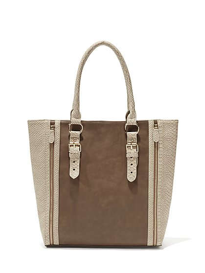 Faux-Leather Colorblock Tote