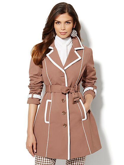 Faux-Leather Contrast-Trim Trench Coat  - New York & Company