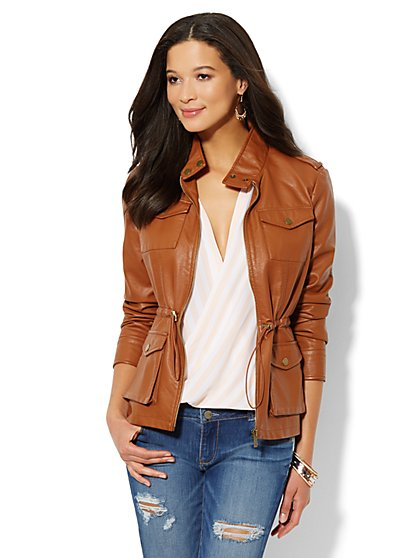 Faux-Leather Drawstring Jacket  - New York & Company