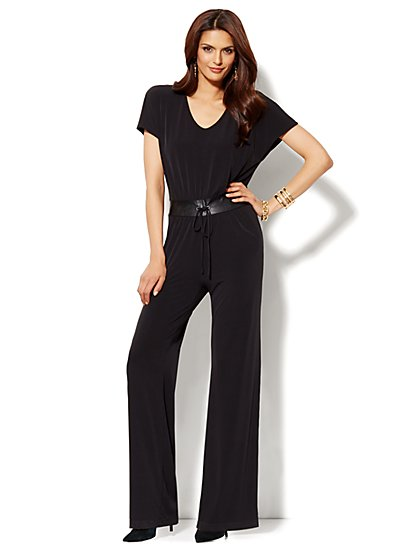 Faux-Leather Drawstring Jumpsuit - New York & Company