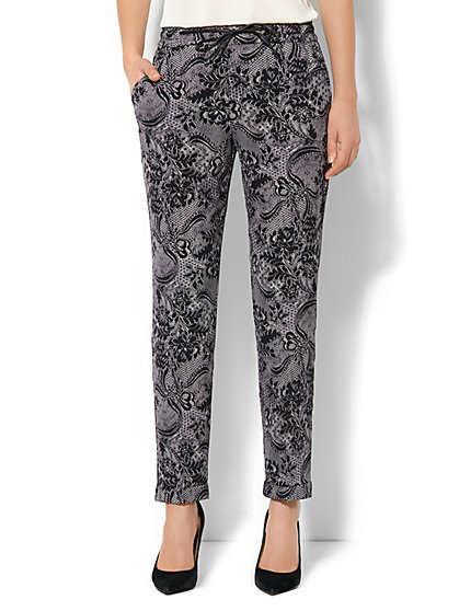 Faux-Leather Drawstring Soft Pant - Lace Print - New York & Company
