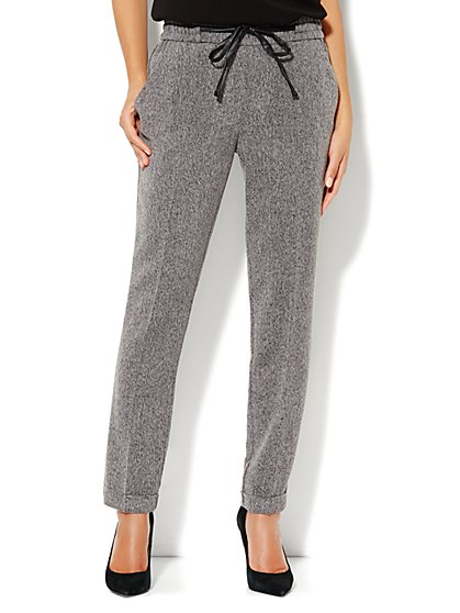 Faux-Leather Drawstring Soft Track Pant - Tweed - New York & Company