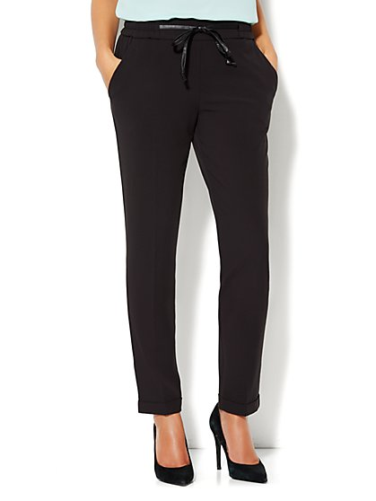 Faux-Leather Drawstring Soft Track Pant - New York & Company