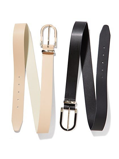 Faux-Leather Elongated Buckle Belt - New York & Company