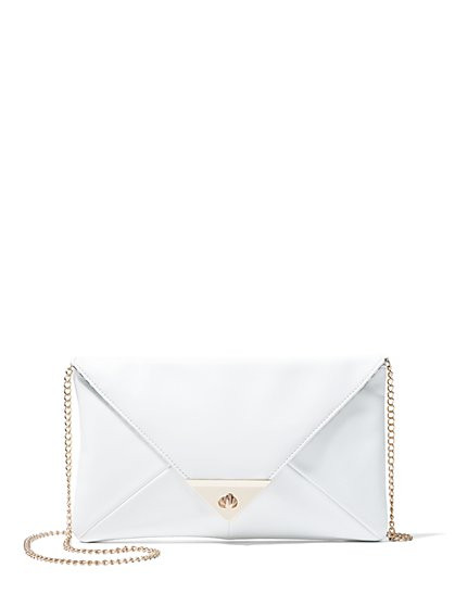 Faux-Leather Envelope Clutch - New York & Company