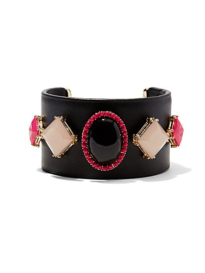 Faux-Leather & Faux-Stone Cuff Bracelet   - New York & Company